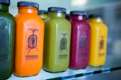 Cold-pressed juices at PRESS Food and Juice in Buffalo, NY