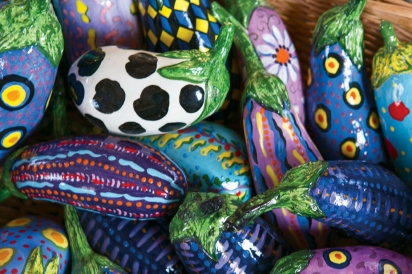 Ceramic eggplants by artist Katherine Gullo