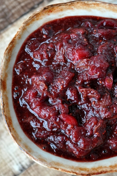 Bowl of cranberry sauce