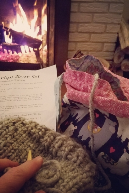 Knitting by the fire at Ballyhope Farm