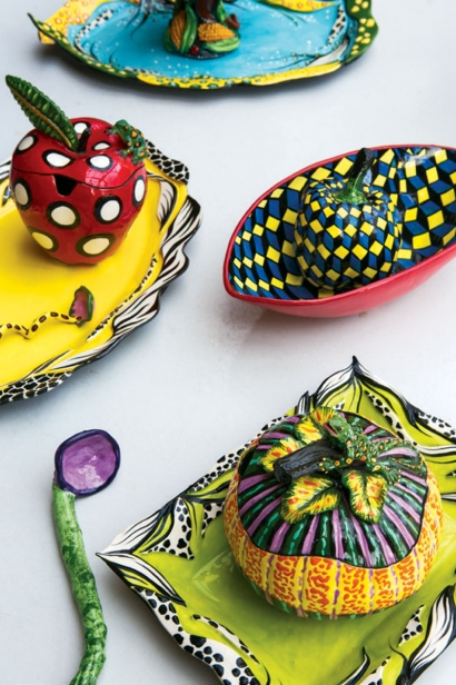 Ceramic fruits and vegetables by Chautauqua artist, Katherine Gullo