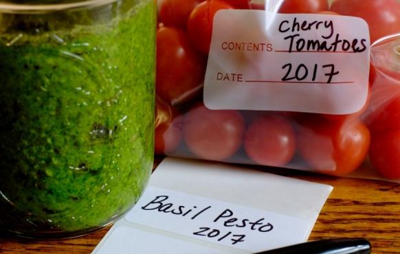 Homemade basil pesto and cherry tomatoes
