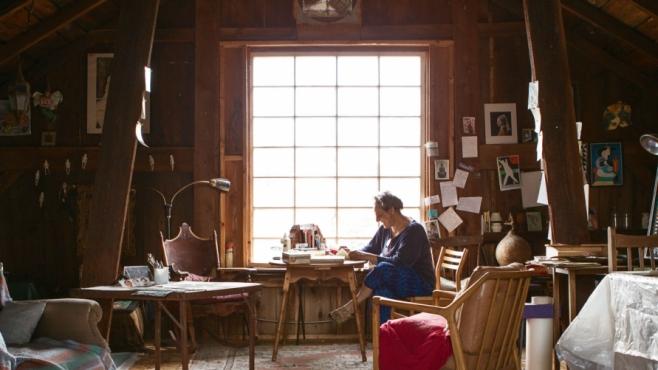 Ceramic artist Katherine Gullo in her studio