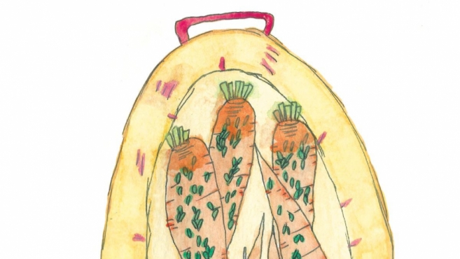 Roasted carrots illustrated by India Seychew
