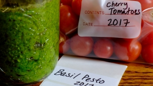 Homemade basil pesto and cherry tomatoes