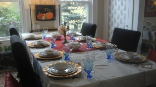 Jasmine's table set for a family gathering.